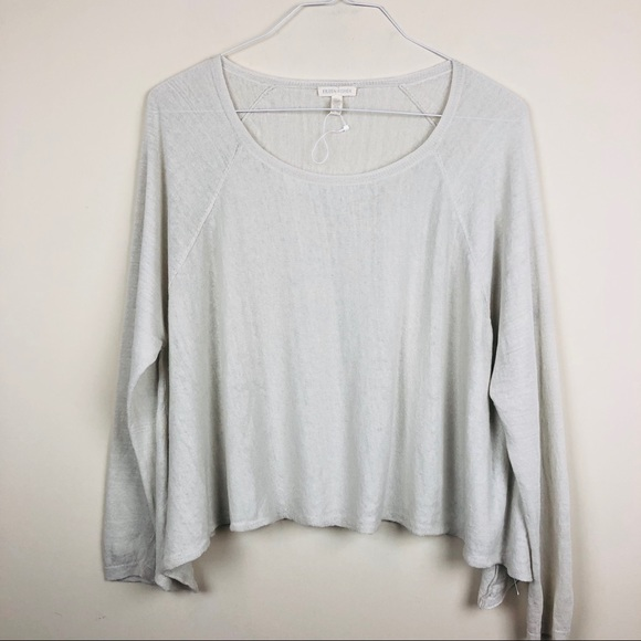 b6c86714 Eileen Fisher Tops - Eileen Fisher Linen Blend Boxy Sharkbite Hem Shirt
